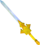Golden off-hand chaotic longsword detail