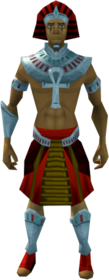 Pharaoh's outfit (red, male) equipped