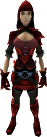 Red dragonhide armour (female) equipped