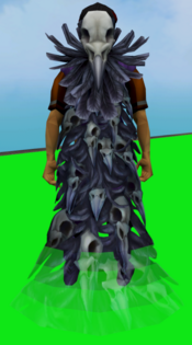 Ravensworn cape equipped