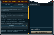 RuneScape Road Trip journal (2015) task list