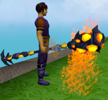 Augmented staff of limitless lava equipped