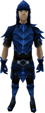 Blue dragonhide armour (male) equipped