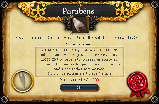 Contos de Fadas III - Batalha na Fenda dos Orcs recompensas