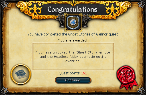 Ghost Stories of Gielinor rewards