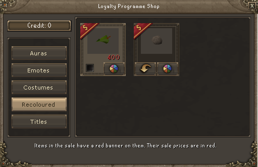 Loyalty Programme Shop interface