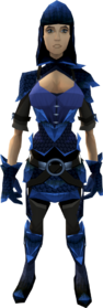 Blue dragonhide armour (female) equipped