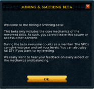 Mining and Smithing beta welcome message