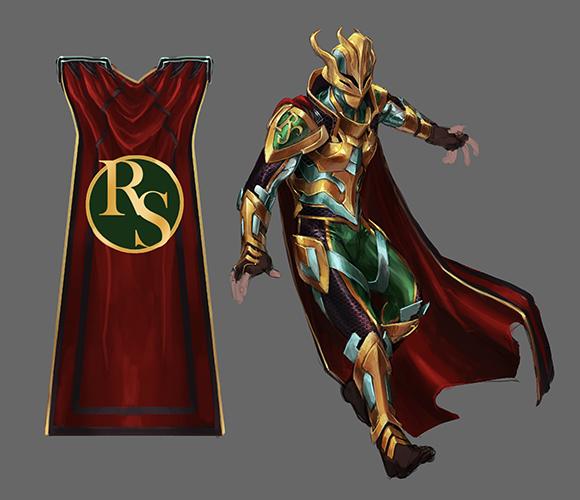 Super September superhero outfit concept art