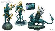 God Wars Dungeon statues concept art