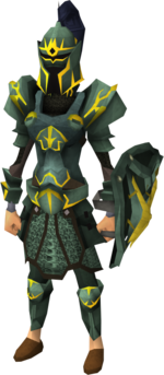 Adamant gold-trimmed armour set (sk) equipped
