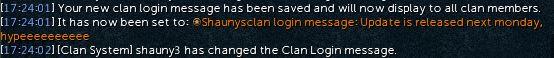 Clan login message news image
