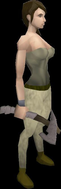 Morrigan's throwing axe equipped