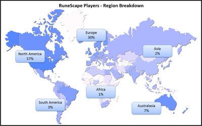 RuneScape Players region breakdown