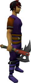 Dwarven army axe equipped
