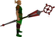 Enhanced ancient staff (red) equipped