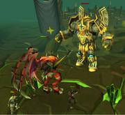 Saradominist colossus fighting