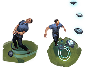 Strongarm and Arcane teleport animations concept art