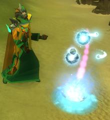 Jogador extraindo energia e memórias divinas