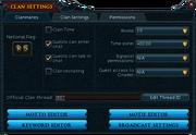 Clan settings