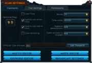 Clan settings