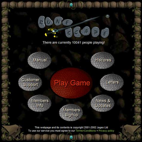 Runescape website 2003