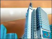 GMA Sign On and Sign Off Night Background (2011-2014) with Kapuso Heart Animation at the GMA Compound billboard