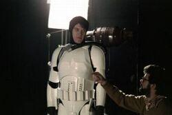 Spacetrooper actor Joe Johnston being directed by Lucas