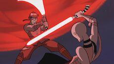 Ventress unterliegt Skywalker Yavin4
