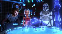 AT-TE and Kenobi hologram