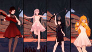 RWBY GE DLC screenshot of Team RWBY Beacon Dance Costume