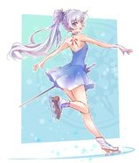 Amity Arena Figure Queen Weiss back side concept artwork by mojojoj
