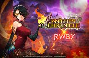 Promotional Material of Cinder Fall for Knights Chronicle X RWBY collaboration