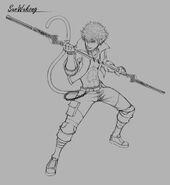 RWBY Amity Arena concept art of Sun Wukong