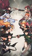 Official artwork of Team RWBY and Team JNPR for RWBY Duelbuilding game
