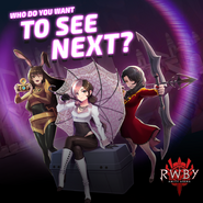Amity Arena Promotional Material of Velvet, Neo, and Cinder