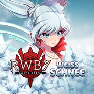 Amity Arena promotional material of Weiss Schnee for upcoming new Weiss unit