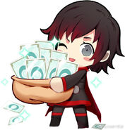 RWBY bilibili chibi Ruby holding bag of Liens