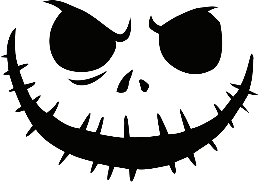 Image jack skellington pumpkin face free pumpkin carving for Evil face pumpkin template