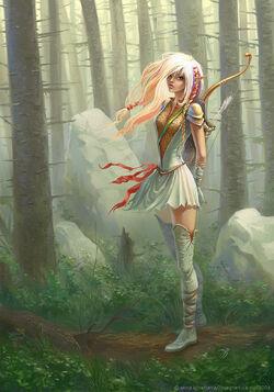 Концепт-арт в лесу лесной эльфийки