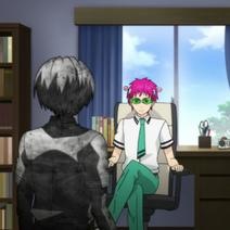 Kusuo and petrified Touma