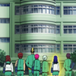 Kusuo and others walking to PK