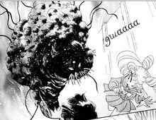 Semilla de demonio atacando a Rini y Hotaru en el manga