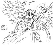 Princess Serenity with the Sword of Healing and Wings Sketch