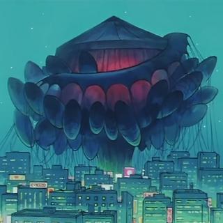 Su nave luego de cubrir al mundo en oscuridad.
