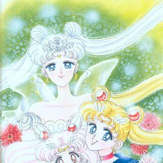 La Neo-Reina junto a Sailor Moon y Sailor Chibi Moon (artbook 2)