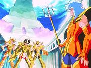 Hyoga, Seiya y Shiryu vs Poseidón