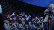 Koga, Subaru, Dorer y Guney mostrando respeto a Athena