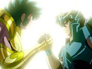 Shiryu se despide de Shura
