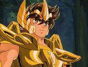 Seiya wears the Sagittarius Cloth for the first time